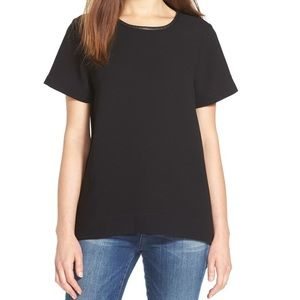 MADEWELL Leather Trim Black Tailored Tee Size S